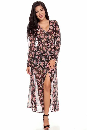 chiffon maxi dress,long sleeve maxi dress,sexy maxi dress,floral maxi dress