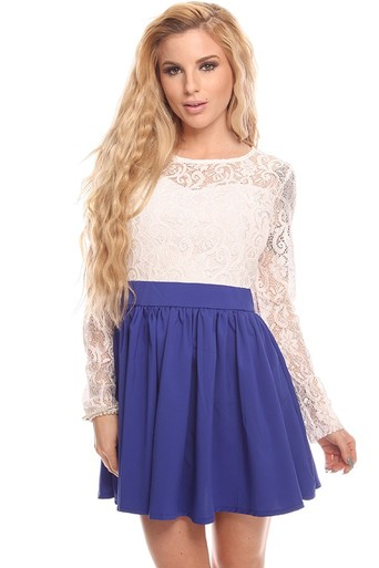 white and blue dress,cute dress,floral lace dress