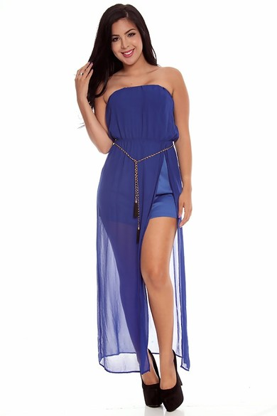 strapless maxi dress,chiffon maxi dress,slit maxi dress