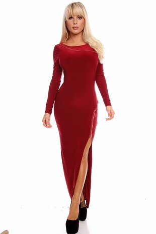 long sleeve maxi dress,slit maxi dress