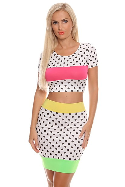 sexy dress,two piece dress set,crop top and skirt set,polka dot dress,sexy party dress,sexy dress