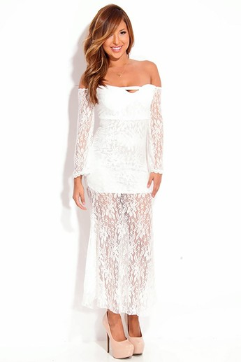 sexy white dress,white lace dress,strapless maxi dress