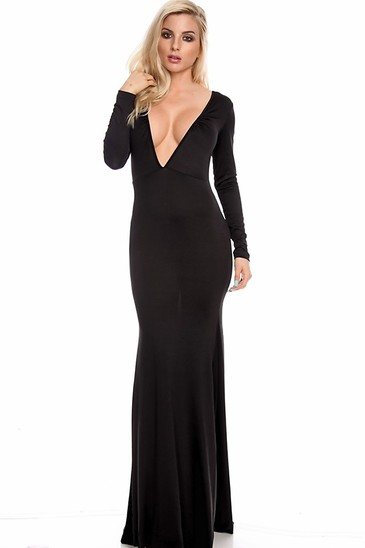 sexy maxi dress,long maxi dress,long sleeve maxi dress,black maxi dress